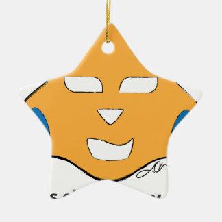 La vida es corta, juega más adorno navideño de cerámica en forma de estrella