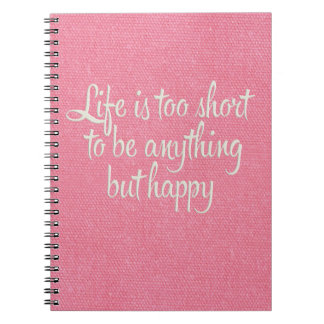 La vida es corta sea lona rosada feliz libro de apuntes