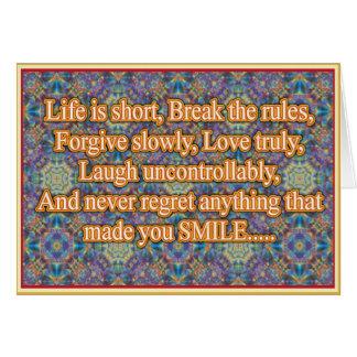 La vida es corta tarjeta de felicitación