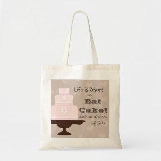 La vida es cortocircuito así que coma la torta bolsa tela barata
