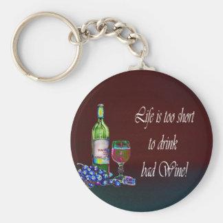 ¡La vida es demasiado corta beber el mún vino! Reg Llavero