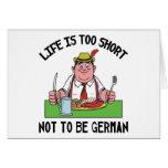 La vida es demasiado corta no ser alemana tarjeton