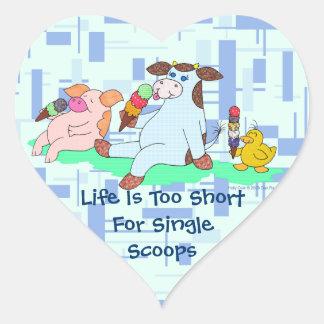 La vida es demasiado corta para las solas pegatina en forma de corazón