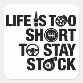 La vida es demasiado corta permanecer la acción pegatina cuadrada