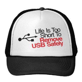 La vida es demasiado corta quitar USB con segurida Gorros Bordados
