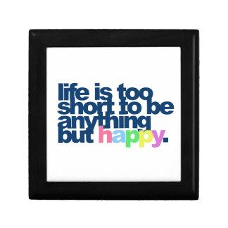 La vida es demasiado corta ser todo menos feliz joyero cuadrado pequeño