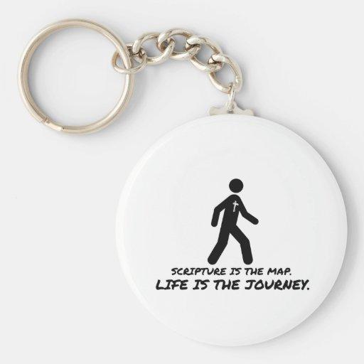 La vida es el cristiano del viaje llaveros personalizados