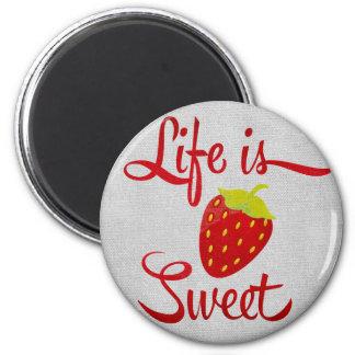 La vida es fresa dulce imán de frigorífico