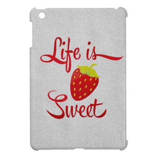La vida es fresa dulce iPad mini carcasas