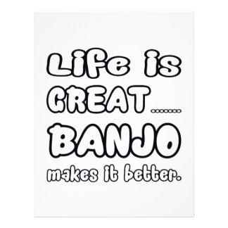 La vida es gran banjo lo hace mejor membrete a diseño