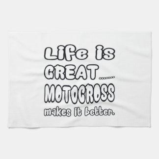 La vida es gran motocrós lo hace mejor toalla de mano