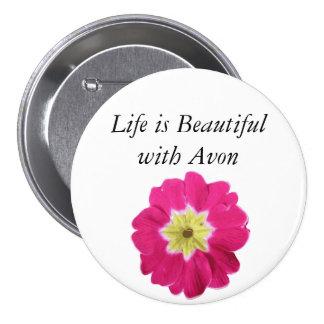 La vida es hermosa con Avon - botón floral Pins