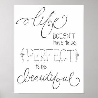 la vida es hermosa - dé el bosquejo exhausto del e poster