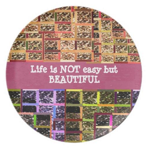 La vida es hermosa:  Texto Editable. Plantilla de  Platos