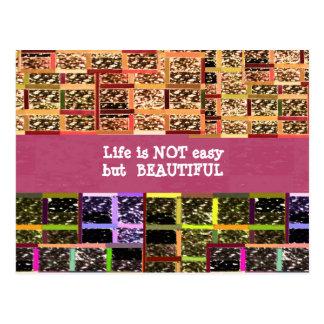 La vida es hermosa:  Texto Editable. Plantilla de  Postales