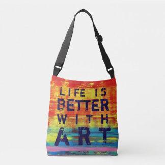 La vida es mejor con arte abstracto amarillo bolsa cruzada