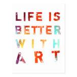 La vida es mejor con arte tarjetas postales