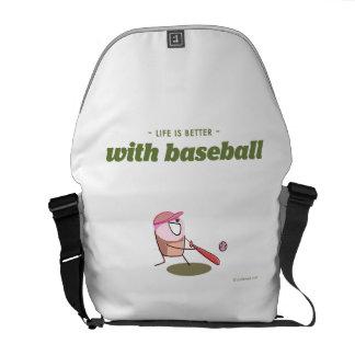 La vida es mejor con béisbol bolsa de mensajería