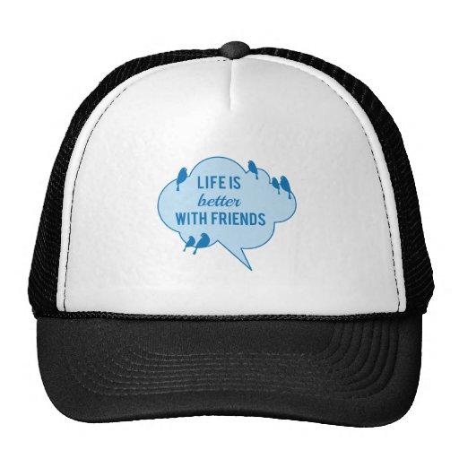 La vida es mejor con los amigos, pájaros en la nub gorro de camionero
