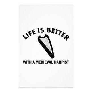 La vida es mejor con un arpista medieval papelería de diseño