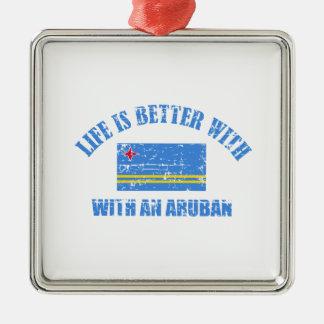 La vida es mejor con un ARUBAN Adorno Navideño Cuadrado De Metal