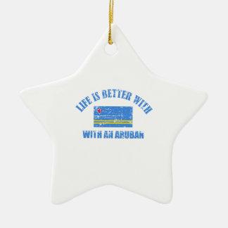 La vida es mejor con un ARUBAN Adorno Navideño De Cerámica En Forma De Estrella