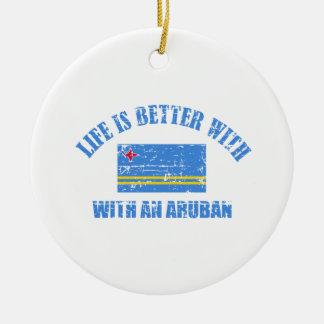 La vida es mejor con un ARUBAN Adorno Navideño Redondo De Cerámica