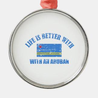 La vida es mejor con un ARUBAN Adorno Navideño Redondo De Metal