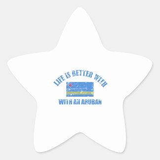 La vida es mejor con un ARUBAN Pegatina En Forma De Estrella