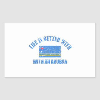 La vida es mejor con un ARUBAN Pegatina Rectangular