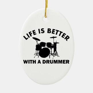 La vida es mejor con un batería adorno ovalado de cerámica