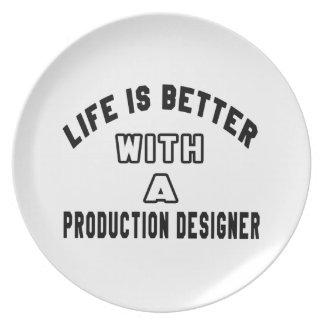 La vida es mejor con un diseñador de la producción plato para fiesta