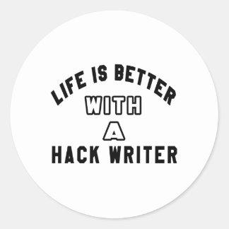 La vida es mejor con un escritor de corte pegatina redonda