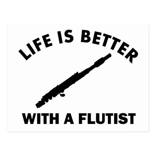 La vida es mejor con un flautista tarjetas postales