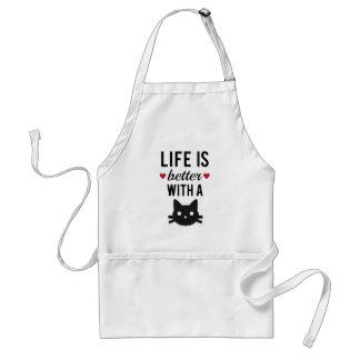 La vida es mejor con un gato, diseño del texto, ar delantal