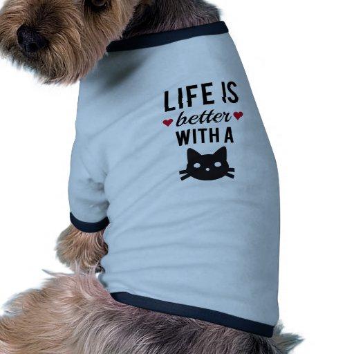 La vida es mejor con un gato, diseño del texto, ar camisetas de perro