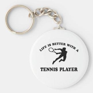 La vida es mejor con un jugador de tenis sobre hie llaveros