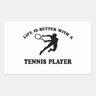La vida es mejor con un jugador de tenis sobre rectangular pegatina