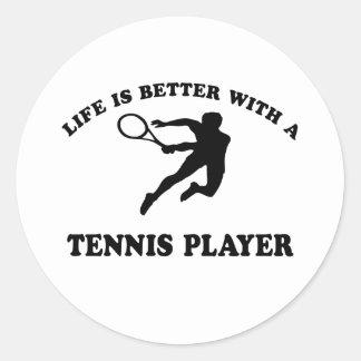La vida es mejor con un jugador de tenis sobre pegatinas redondas