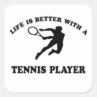 La vida es mejor con un jugador de tenis sobre colcomanias cuadradases