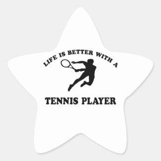 La vida es mejor con un jugador de tenis sobre calcomanías forma de estrella personalizadas