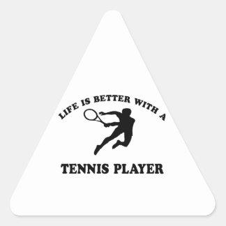 La vida es mejor con un jugador de tenis sobre calcomanía trianguloada