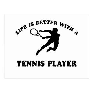 La vida es mejor con un jugador de tenis sobre tarjeta postal