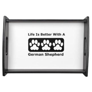 La vida es mejor con un pastor alemán bandejas