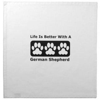 La vida es mejor con un pastor alemán servilleta imprimida