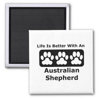 La vida es mejor con un pastor australiano imán cuadrado