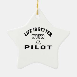 La vida es mejor con un piloto adorno de cerámica en forma de estrella
