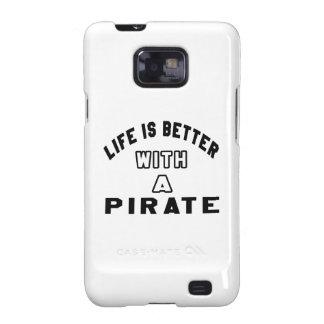 La vida es mejor con un pirata galaxy SII fundas