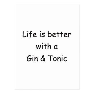 La vida es mejor con una ginebra y un tónico postal