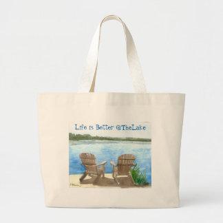 La vida es mejor en el lago bolsa de tela grande